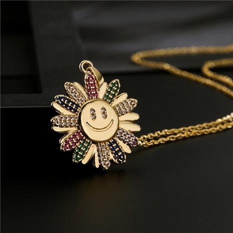 Großhandel Mode bunte Sonnenblume Smiley Anhänger Kupfer Micro-Intarsien Zirkon Halskette nihaojewelry NHFMO381030's discount tags