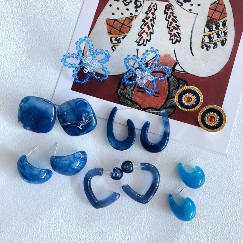 wholesale simple woven blue flower earrings nihaojewelry NHOM381087