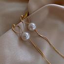 Wholesale Jewelry Gold Wire Chain Pearl Long Tassel Earrings Nihaojewelry  NHPF381122