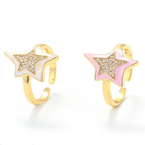 Vente en gros bijoux goutte d'huile bague en cuivre étoile à cinq branches Nihaojewelry NHWG381145's discount tags