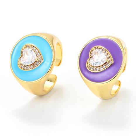 Nihaojewelry bijoux en gros dégoulinant d'un anneau de zircon en cuivre en forme de coeur à visage large NHWG381149's discount tags