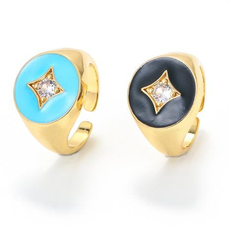 Nihaojewelry bijoux en gros nouvelle bague réglable à ouverture étoile à quatre branches et diamants goutte d'huile NHWG381157's discount tags