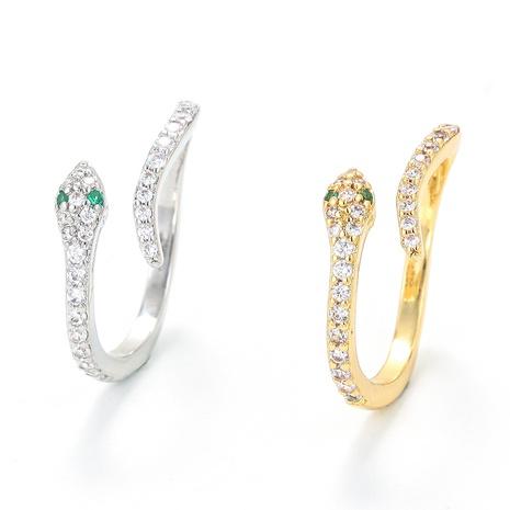 Nihaojewelry bijoux en gros bague réglable en forme de serpent en zircon micro-incrusté NHWG381153's discount tags