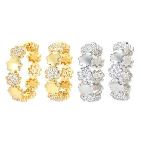 vente en gros bijoux simples boucles d'oreilles fleurs en zircon micro-incrusté Nihaojewelry NHWG381154's discount tags