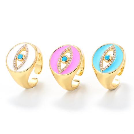 Nihaojewelry bijoux en gros coréen huile goutte à goutte large face diamant clouté ouverture des yeux bague réglable NHWG381158's discount tags