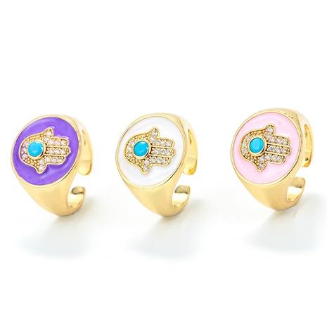 Nihaojewelry bijoux en gros rétro dégoulinant anneau réglable d'ouverture de palmier à huile NHWG381159's discount tags