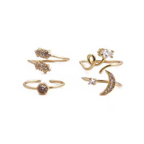 Nihaojewelry Bague géométrique en zircon en forme de lune créative Bijoux en gros NHYL381179's discount tags