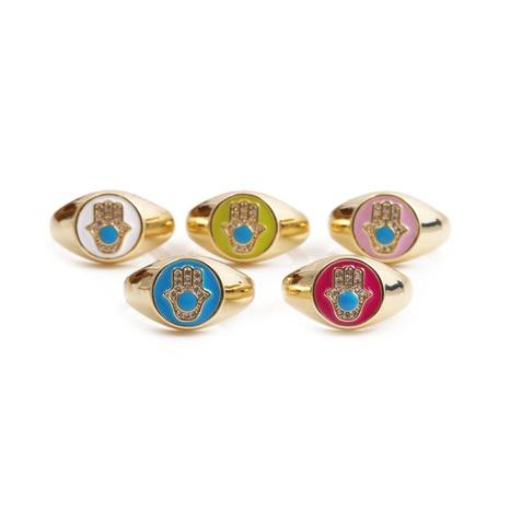 Nihaojewelry mode goutte d'huile cuivre zircon ouverture de la paume anneaux réglables bijoux en gros NHYL381184's discount tags