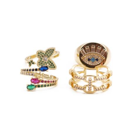 wholesale bijoux de mode yeux de papillon géométrique incrusté de cuivre zircon anneau ouvert nihaojewelry NHYL381194's discount tags