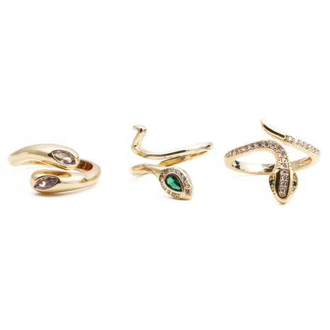 nihaojewelry fashion bague en zircone incrustée de cuivre en forme de serpent NHYL381195's discount tags