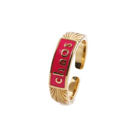 Nihaojewelry lettres simples dégoulinant d'huile de cuivre incrusté de zircon bague en gros bijoux NHYL381196's discount tags