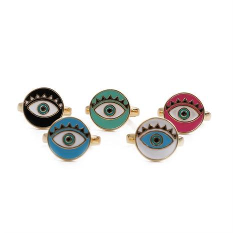 Nihaojewelry disque goutte à goutte d'huile cinq couleurs anneau ouvert oeil du diable bijoux en gros NHYL381198's discount tags