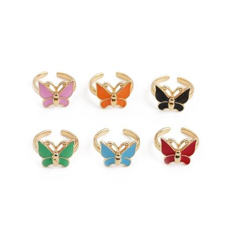 Nihaojewelry mode papillon goutte d'huile anneau ouvert réglable bijoux en gros NHYL381197's discount tags