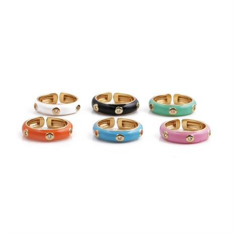 Nihaojewelry mode bague ouverte diamant rond bijoux en gros NHYL381199's discount tags