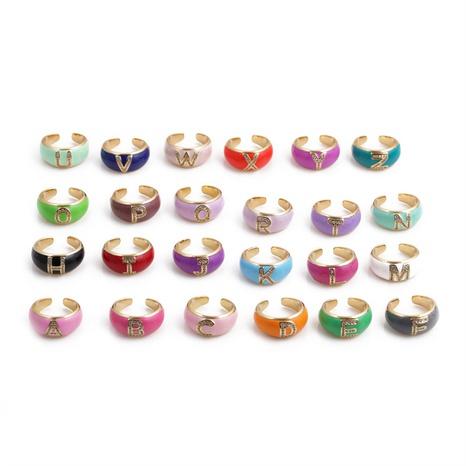 Nihaojewelry mode lettres anglaises goutte d'huile bague réglable en zircon micro-incrusté bijoux en gros NHYL381210's discount tags