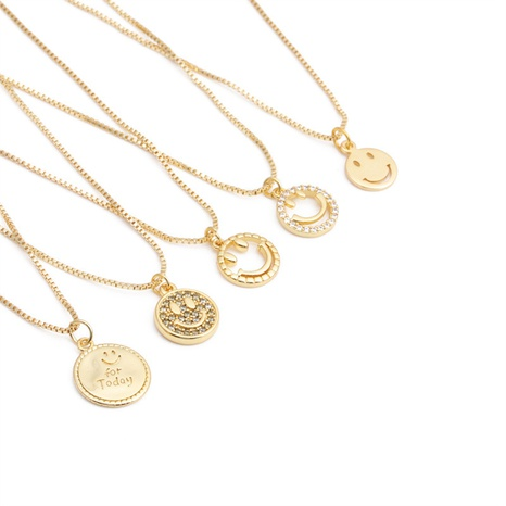 Großhandel Mode Smiley Anhänger Kupfer Micro-Intarsien Zirkon Halskette nihaojewelry NHYL381217's discount tags