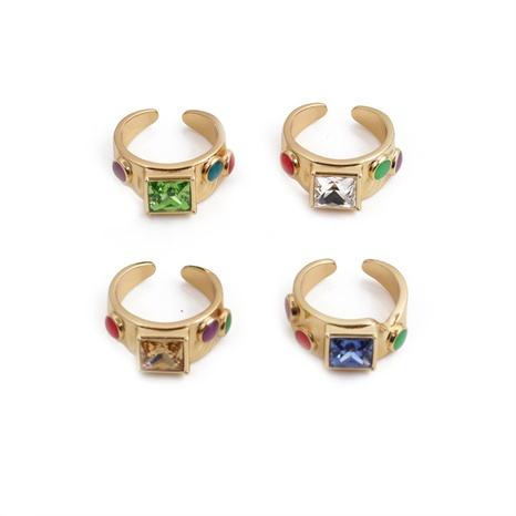 Nihaojewelry style rétro zircon plaqué cuivre bague ouverte en or 18 carats bijoux en gros NHYL381219's discount tags