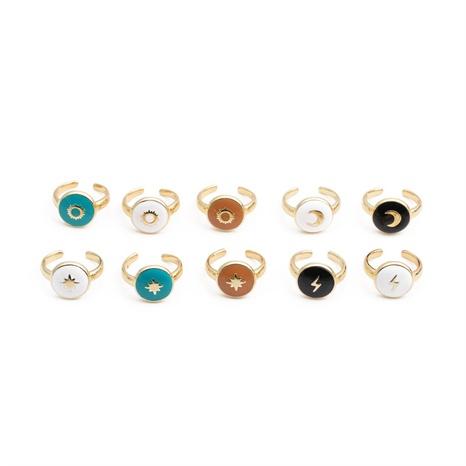 Nihaojewelry mode plaqué cuivre or géométrique gouttes d'huile bague ouverte bijoux en gros NHYL381220's discount tags