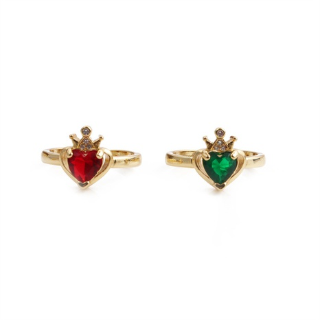 Nihaojewelry micro-incrusté zircon couronne coeur cuivre bague réglable bijoux en gros NHYL381222's discount tags