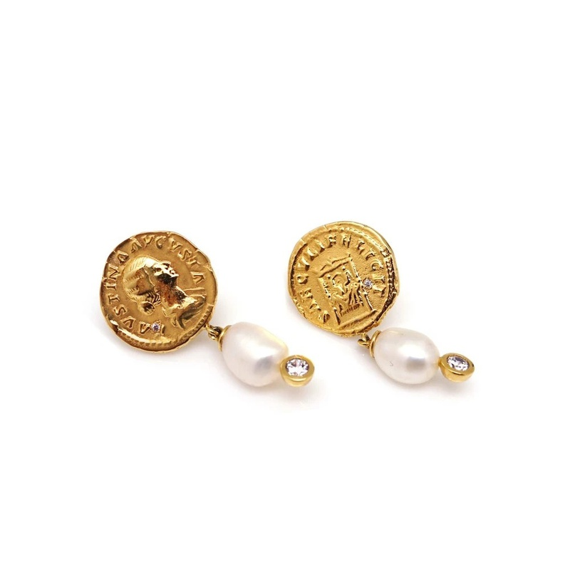 Nihaojewelry wholesale jewelry retro round portrait pearl copper earrings  NHGI381286
