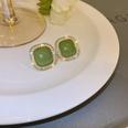 NHNJ1761030-Silver-Needle-Green-Square-Stud-Earrings