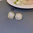 NHNJ1761031-Silver-Needle-White-Square-Stud-Earrings