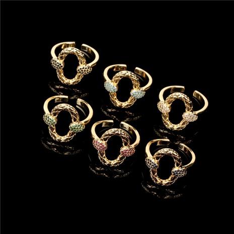 Bague en zircon de couleur en forme de serpent à double tête Nihaojewelry Bijoux en gros NHPY381339's discount tags