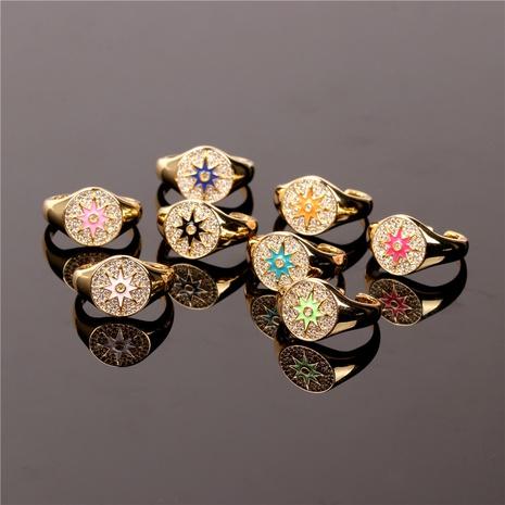 Bague d'ouverture étoile à huit branches incrustée de diamants de mode Nihaojewelry Bijoux en gros NHPY381340's discount tags