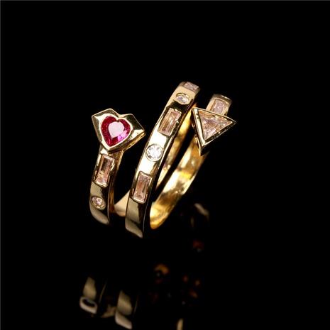 Nihaojewelry Bague d'ouverture de coeur en zircon micro incrusté multicouche Bijoux en gros NHPY381341's discount tags