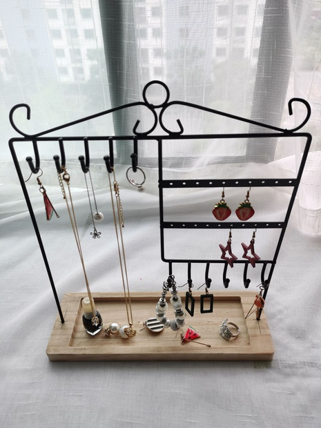 Nihaojewelry wooden base earring necklace display stand wholesale accessories NHAW381784's discount tags