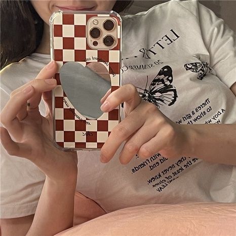 Wholesale Accessories Heart Mirror Checkerboard Plaid Phone Case Nihaojewelry NHFI381993's discount tags