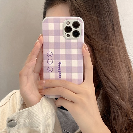 wholesale accessories purple plaid smiley mobile phone case Nihaojewelry NHFI381997's discount tags