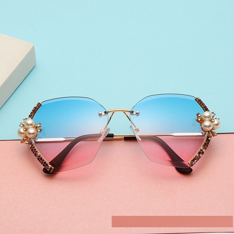 wholesale accessories pearl diamond large frame borderless sunglasses Nihaojewelry NHMSG381474's discount tags