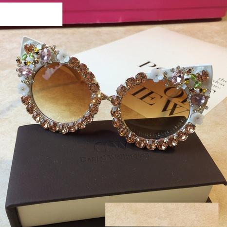 wholesale accessories diamond flower cat eye sunglasses Nihaojewelry NHMSG381467's discount tags