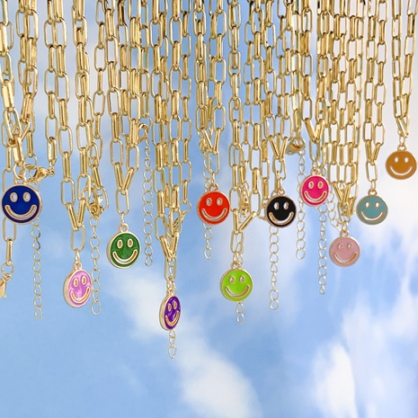 wholesale new dripping smiley face pendent alloy necklace Nihaojewelry  NHYIA401076's discount tags