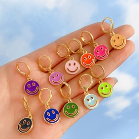 new creative hollow multicolor double-sided smiley earrings wholesale nihaojewelry NHYIA401091