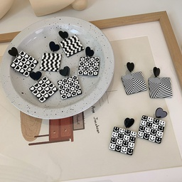 retro black white checkerboard heart square acrylic earrings wholesale nihaojewelry NHMS401309