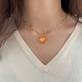 wholesale fashion double-layer heart-shaped necklace Nihaojewelry NHPJ401326