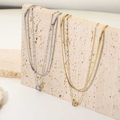 14K Stacked Snake Chain Stainless Steel Rhinestone Double Necklace Wholesale Nihaojewelry NHJIE401471's discount tags