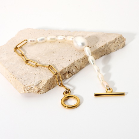 new simple 18K OT buckle stainless steel chain pearl bracelet wholesale nihaojewelry NHJIE401472's discount tags