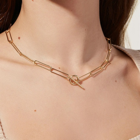 Vintage 18K Gold OT Buckle Flat Rectangle Chain Link Stainless Steel Necklace Wholesale Nihaojewelry NHJIE401473's discount tags