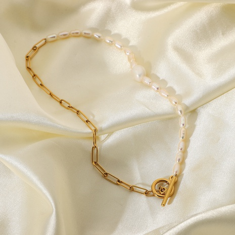 Simple 18K OT Buckle Natural Pearl Stainless Steel Necklace Wholesale Nihaojewelry NHJIE401474's discount tags