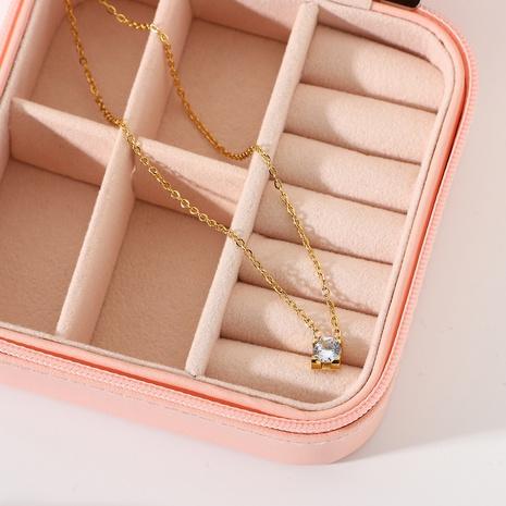 18K simple retro mini zircon stainless steel necklace wholesale nihaojewelry NHJIE401482's discount tags