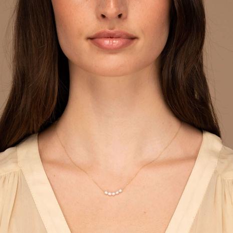 vintage simple 18K stainless steel pearl necklace wholesale nihaojewelry NHJIE401483's discount tags