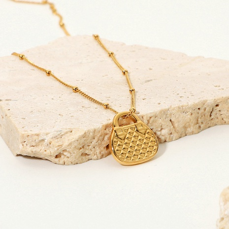 wholesale fashion 18K gold-plated stainless steel bag pendant necklace Nihaojewelry  NHJIE401484's discount tags