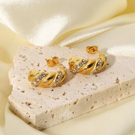 wholesale zircon C-shaped croissant stainless steel earrings Nihaojewelry NHJIE401486's discount tags