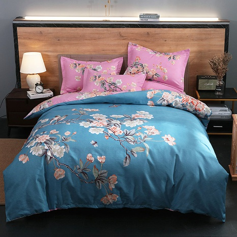 wholesale plum blossom printing brushed bedding four-piece set nihaojewelry  NHBWJ401537's discount tags