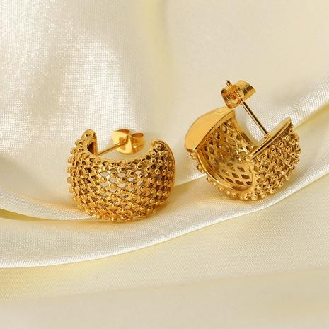wholesale diamond mesh stud stainless steel earrings Nihaojewelry NHJIE401487's discount tags