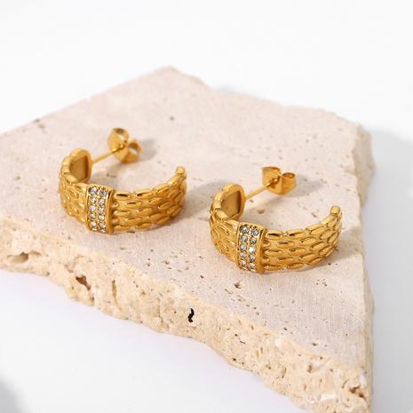 wholesale gold-plated stainless steel zircon woven C-shaped earrings Nihaojewelry NHJIE401490's discount tags