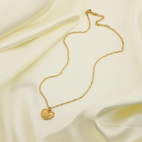 18K Simple Cupid Romantic Angel Heart Stainless Steel Necklace Wholesale Nihaojewelry NHJIE401491's discount tags